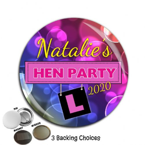 Large 75mm Personalised Bachelorette Hen Night Party Badge N52